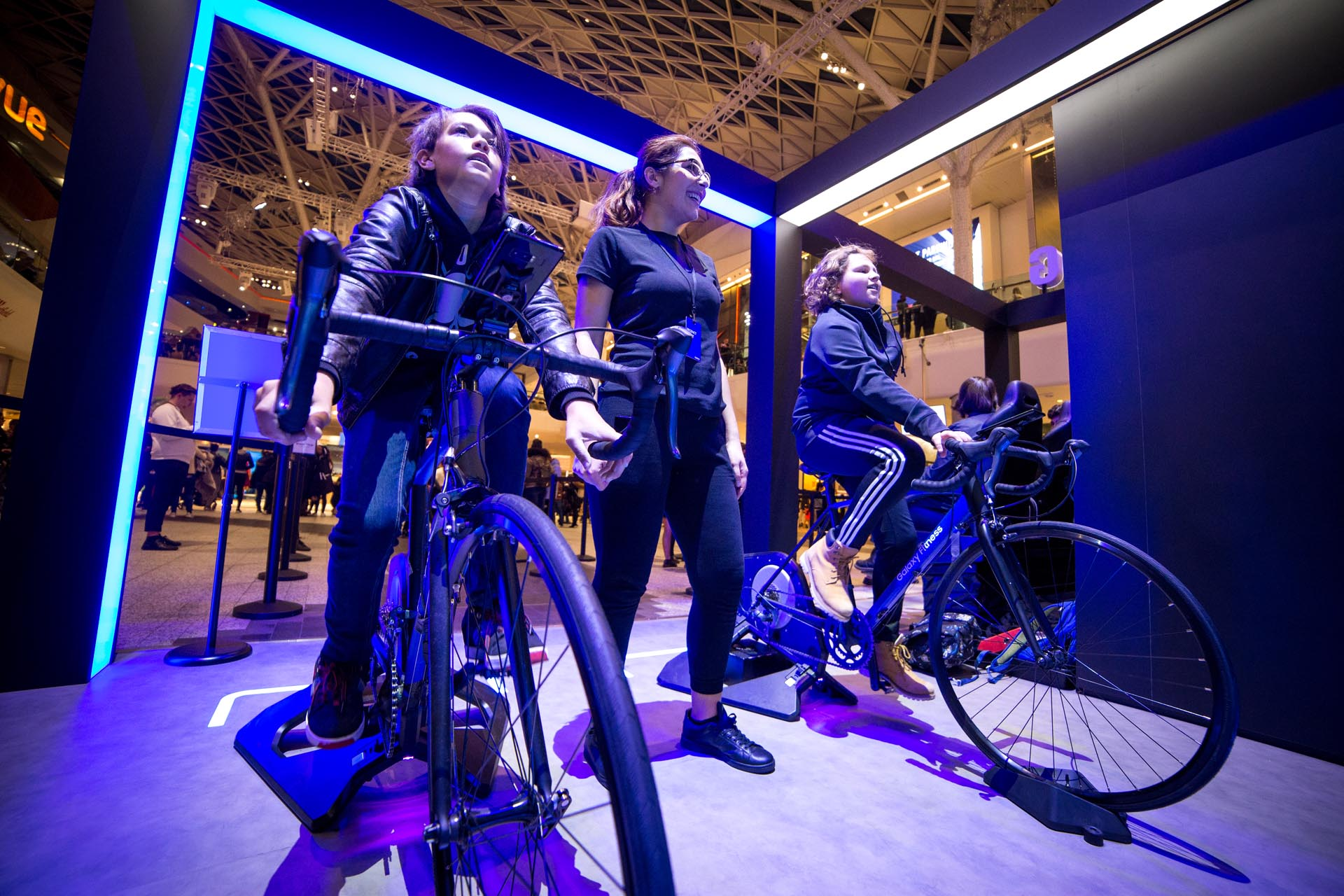 Stationary road bikes at Samsung event